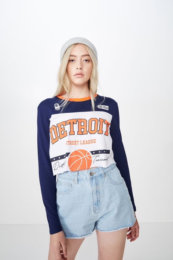 Long Sleeve Raw Edge Graphic Tshirt, WHITE/DETROIT BASKETBALL