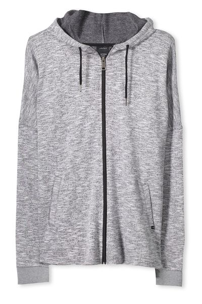 Zip Thru Drop Top Hoodie, BLACK TEXTURE