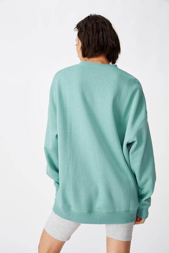 Oversized Crew Neck Sweater, SAGE GREEN