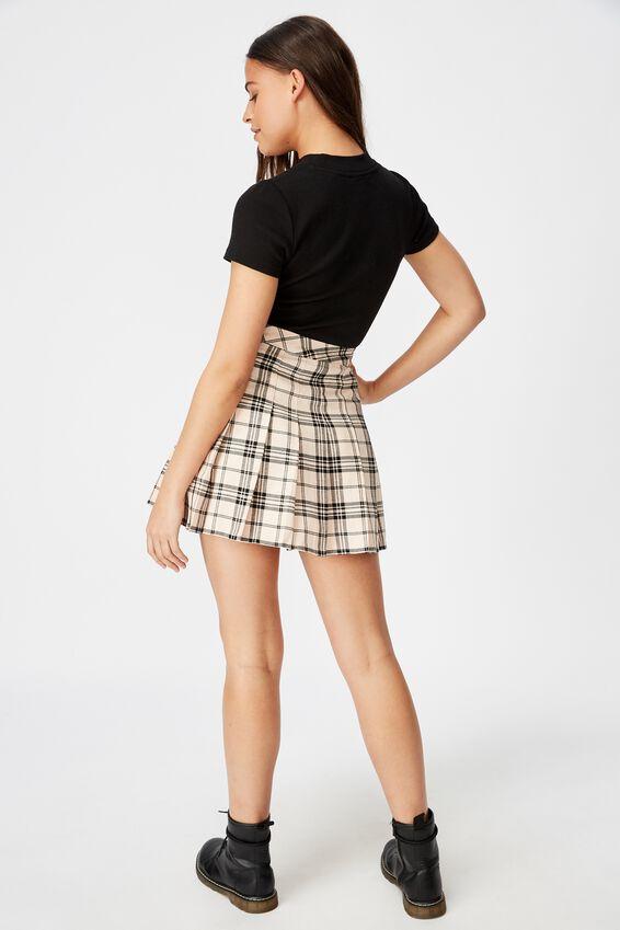 Pleated Skirt, SEASHELL CHECK