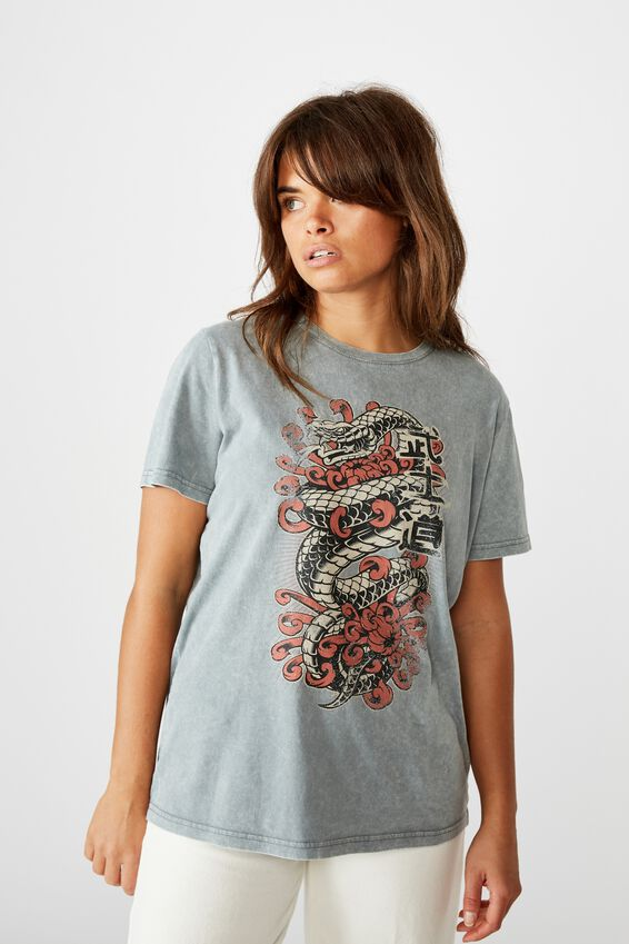 Relaxed Graphic T Shirt, WASHED GREY/GREVILLEA SNAKE