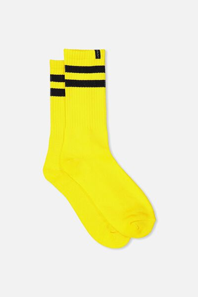 Retro Ribbed Socks, YELLOW_BLK STRIPE
