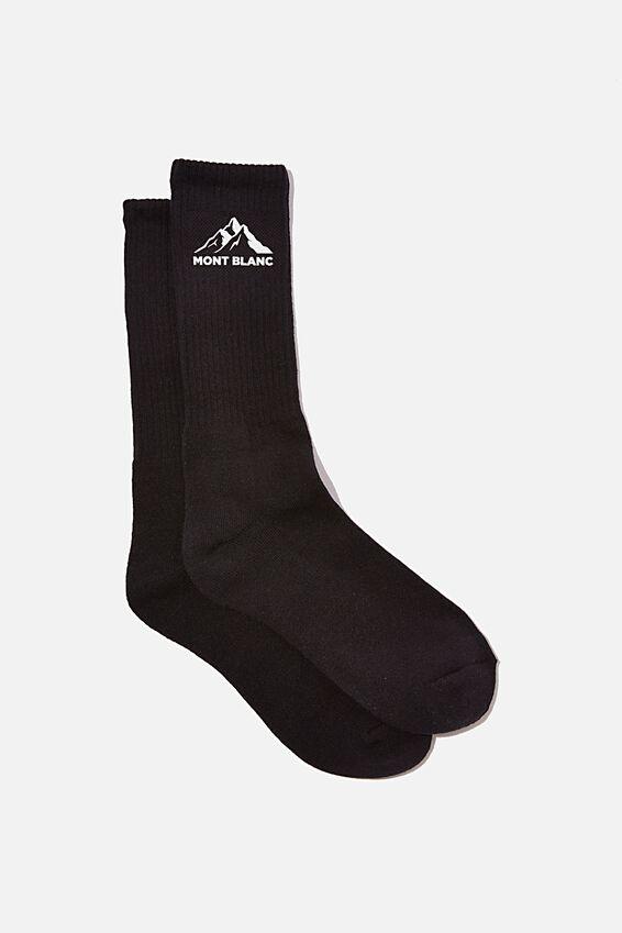 Retro Ribbed Socks, MONT BLANC BLACK