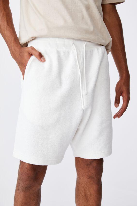Reverse Fleece Track Short, WHITE