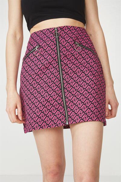 Zip Front A Line Skirt, MONOGRAM FG PRINT