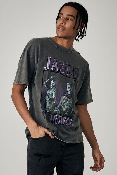 Oversized Halloween T Shirt, LCN WB WASHED ASPHALT/JASON HOMAGE