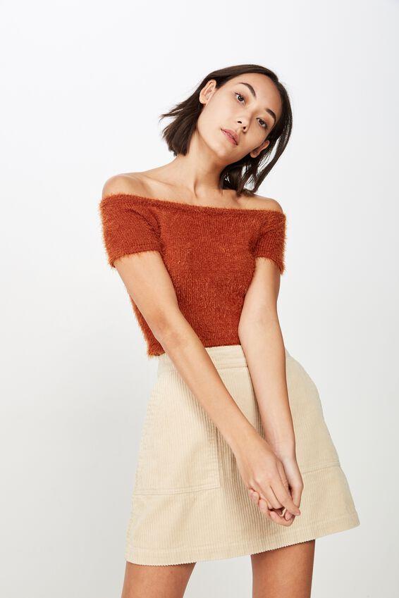 Off Shoulder Fluffy Knit Crop Top, GINGERBREAD