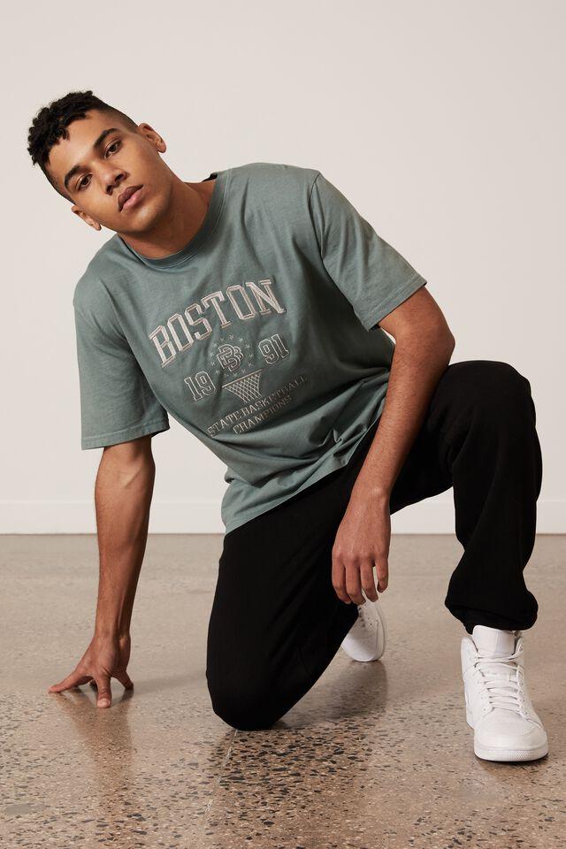 Regular Graphic T Shirt, WASHED PINE TEAL/BOSTON STATE