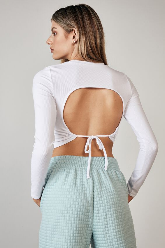 Long Sleeve Open Back Double Tie Top, WHITE
