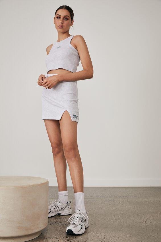 Side Split Mini Skirt, SILVER MARLE _KINDNESS CLUB