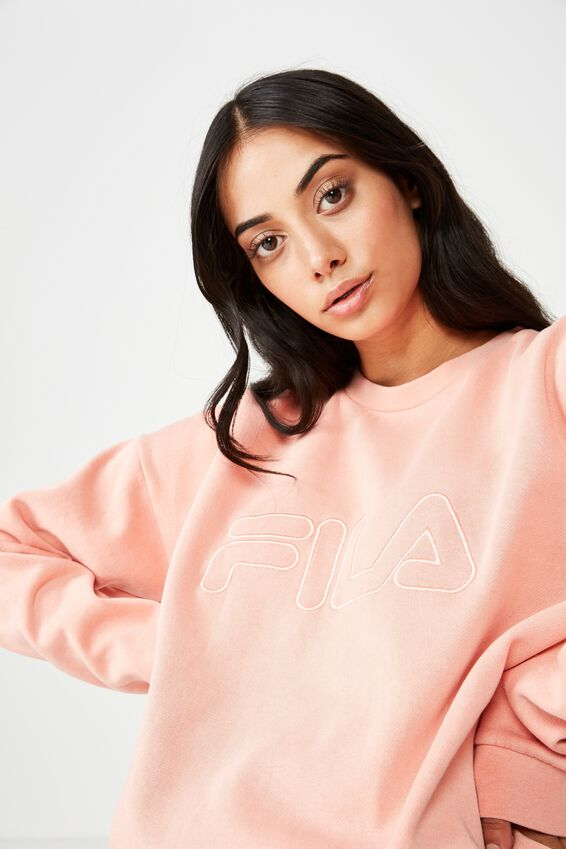 Fila Washed Crew Neck Sweater, WASHED DUSTY PINK