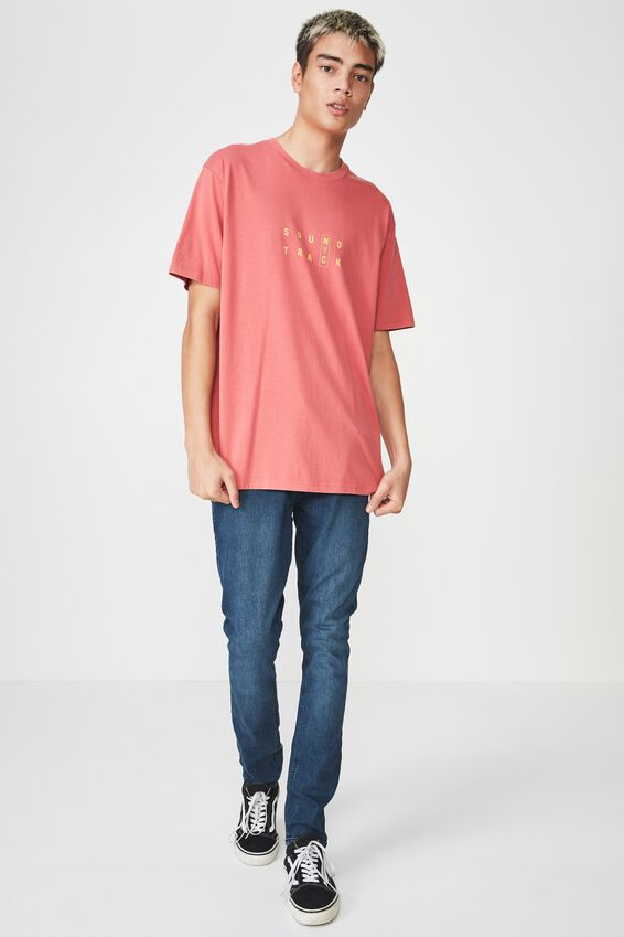 Graphic Washed T Shirt, WASHED BERRY/SOUNDTRACK