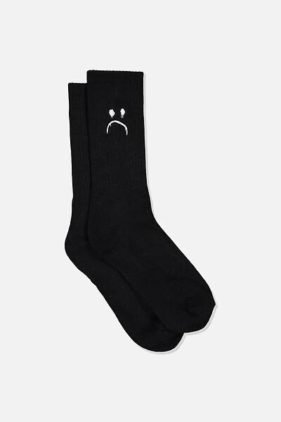 Retro Ribbed Socks, HAPPY/SAD.BLACK/WHITE