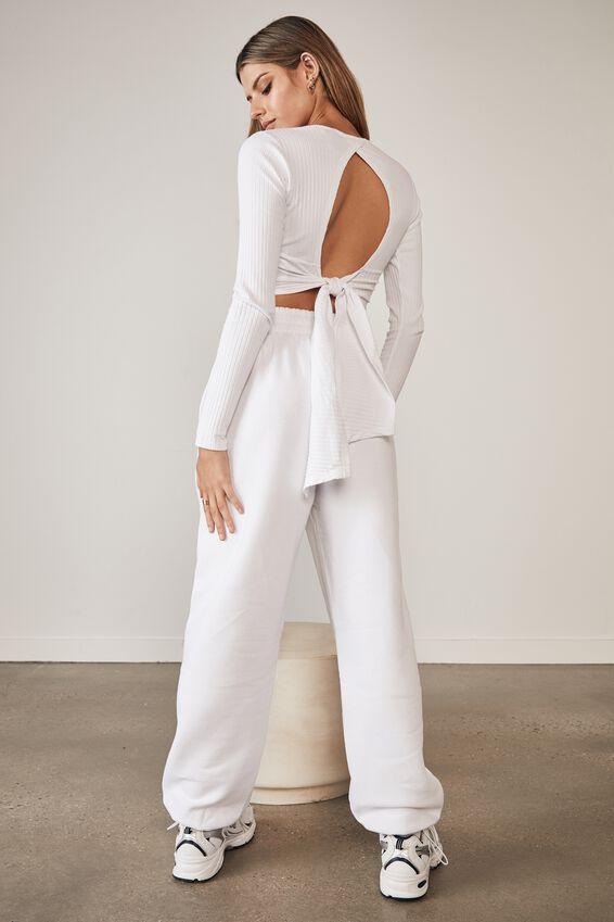 Long Sleeve Back Detail Top, WHITE