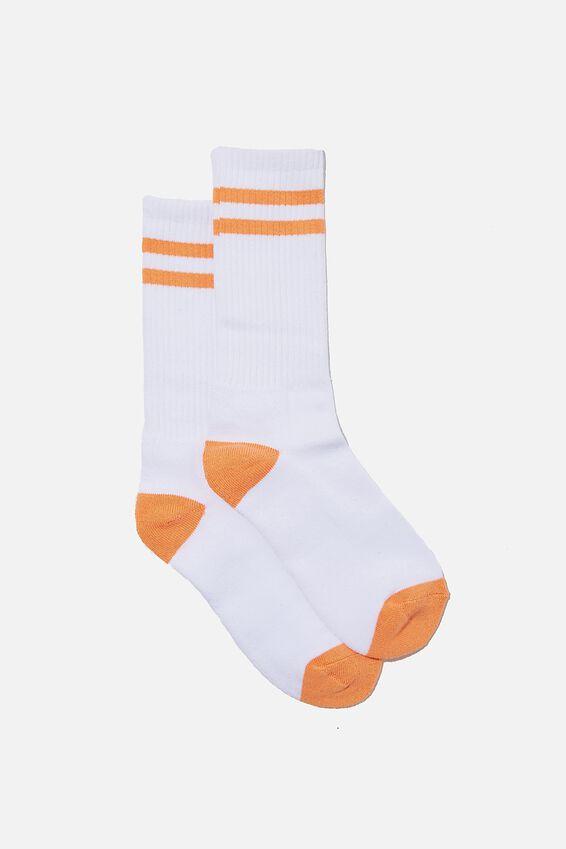 Retro Ribbed Socks, WHITE/WASHED ORANGE STRIPES