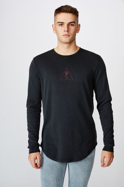 Curved Long Sleeve Graphic T Shirt, WASHED BLACK/FLOWERLINE
