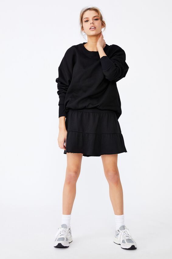 Fleece Teired Skirt, BLACK