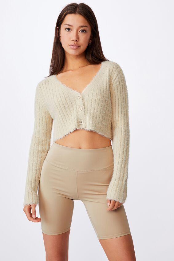 Fluffy Knit Super Crop Cardi, FOG