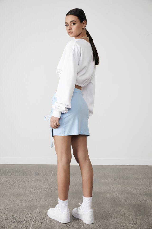 Ruched Side Split Skirt, SKYWAY