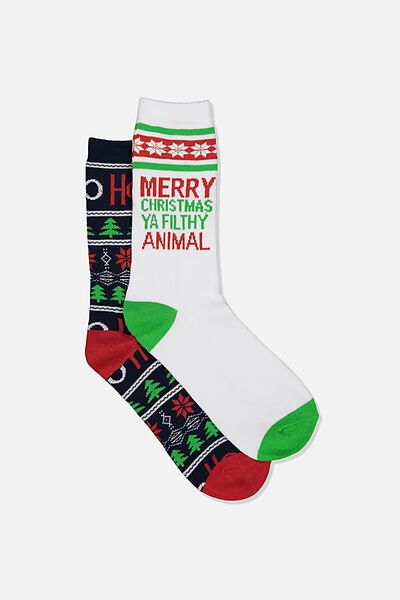 Xmas Gift Pack Socks, FILTHY ANIMAL/HO HO HO