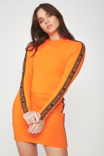 Co-Ord Cropped Funnel Neck Long Sleeve, PUFFINS BILL_BLACK TAPE