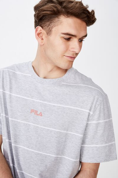 Fila Lcn Regular Stripe T Shirt, LIGHT GREY MARLE STRIPE