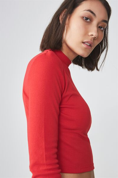 Long Sleeve Funnel Neck Cropped Top, LYCHEE
