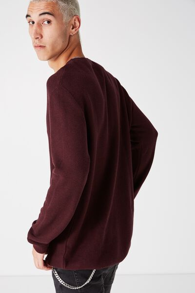 Mixed Crew Knit, BURGUNDY MARLE HC