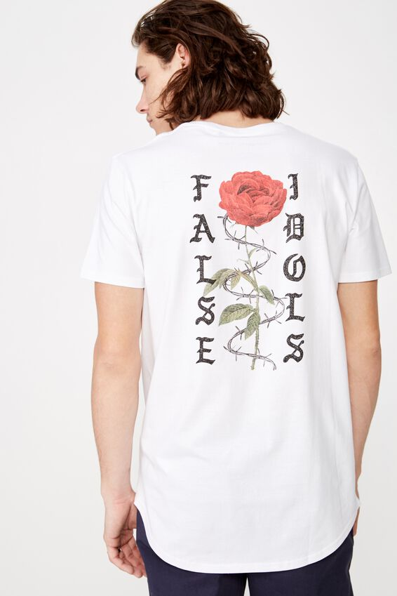 Curved Graphic T Shirt, WHITE/IDOL ROSE