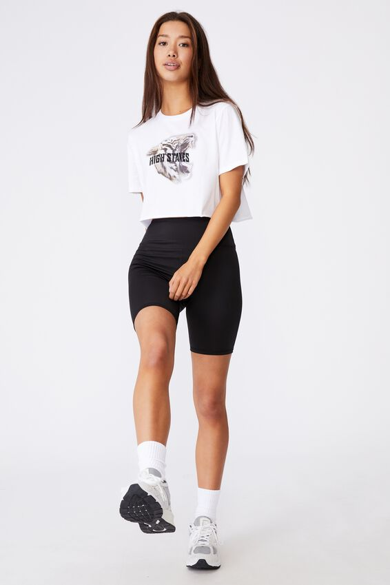 Short Sleeve Raw Edge Crop Graphic T Shirt, WHITE/HIGH STAKES