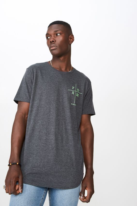 Curved Graphic T Shirt, CHARCOAL MARLE/FORM