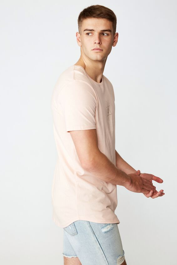 Curved Graphic T Shirt, STRAWBERRY CREAM/TRI ROSE