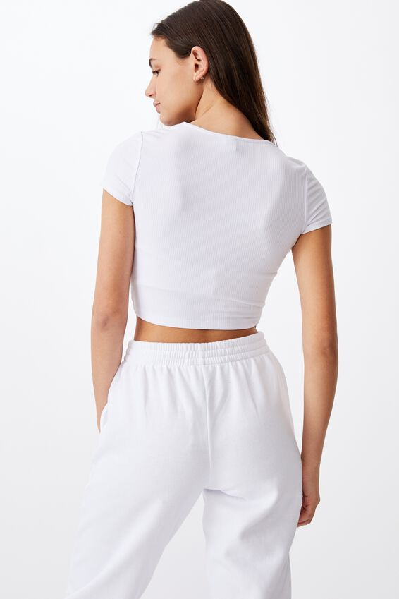 Short Sleeve Pull Front V Neck Top, WHITE
