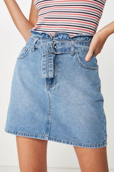 Paperbag Denim Skirt, 90s BLUE