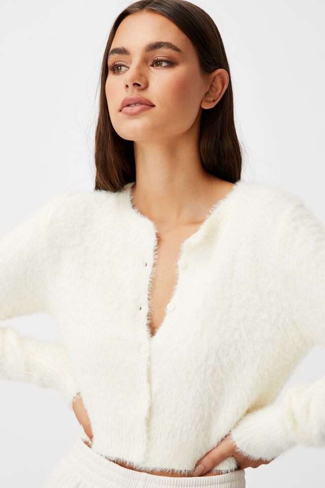 Fluffy Knit Slim Fit Cardi, IVORY