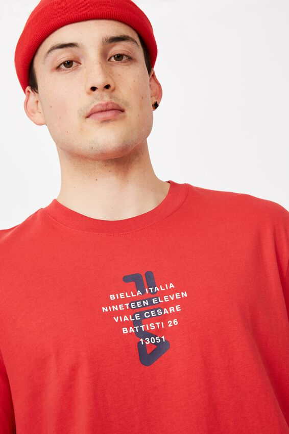 Fila Lcn Regular Graphic T Shirt, LYCHEE/BIELLA ITALIA