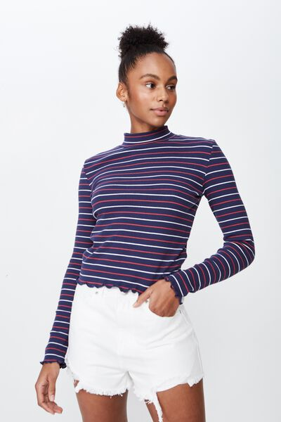 Stripe Rib Lettuce Edge Long Sleeve, BRIXTON STRIPE_WASHED NAVY