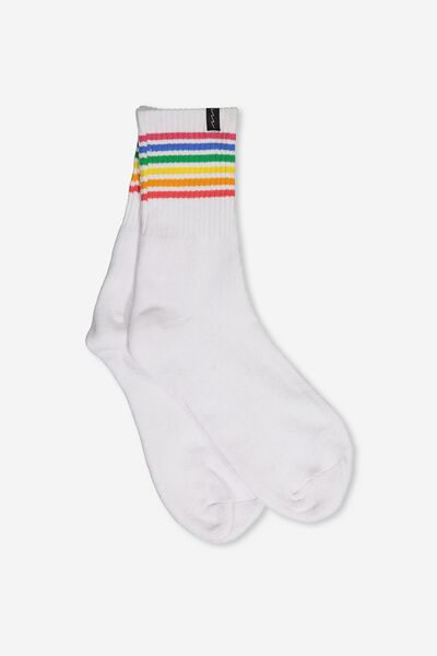Retro Sport Sock, RAINBOW WHITE