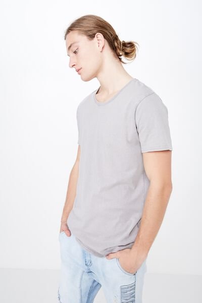 Washed Curved T Shirt, WASHED STEEL