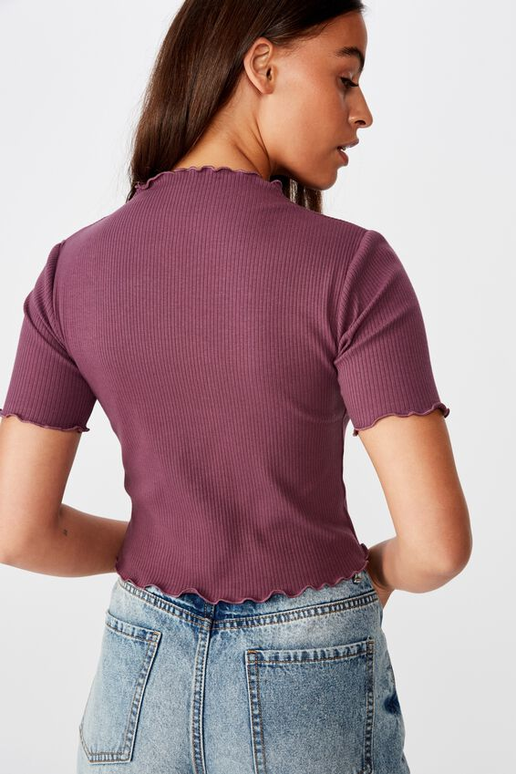 Rib Lettuce Edge Funnel Neck Top, PRUNE PURPLE