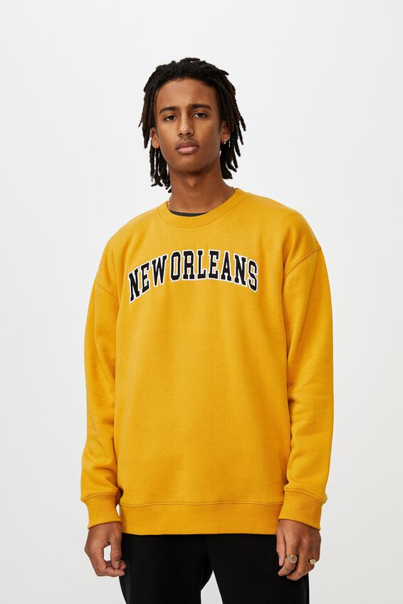 Oversized Graphic Crew, MUSTARD/NEW ORLEANS