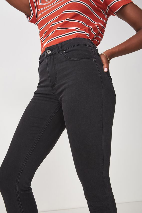 The Skinny Mid Rise Jean, THRIFT BLACK