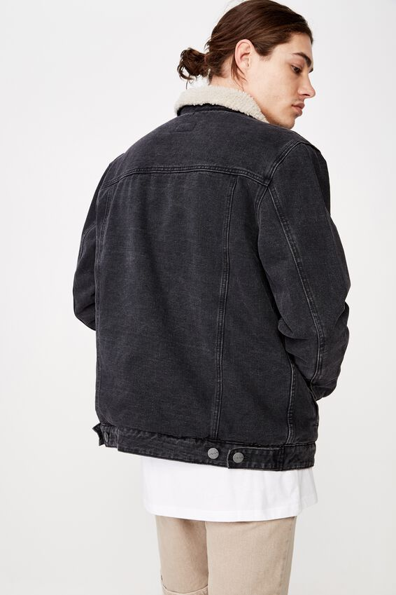 Denim Sherpa Jacket., WASHED BLACK