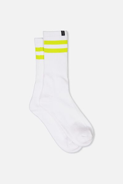 Retro Ribbed Socks, WHITE_LIME STRIPE