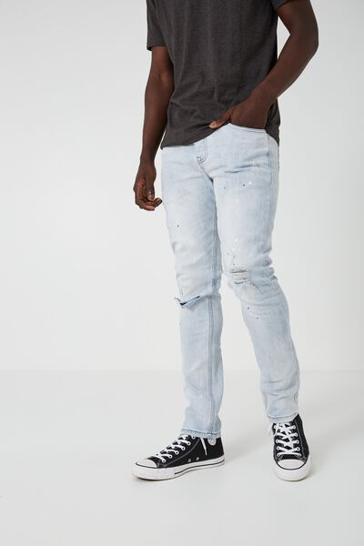 Skinny Leg Denim Jean, ICE BLUE SPLATTER
