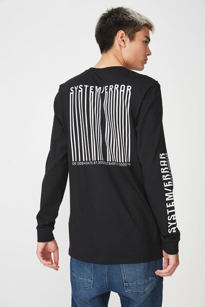 Slim Long Sleeve Graphic T Shirt, BLACK/SYSTEM ERROR