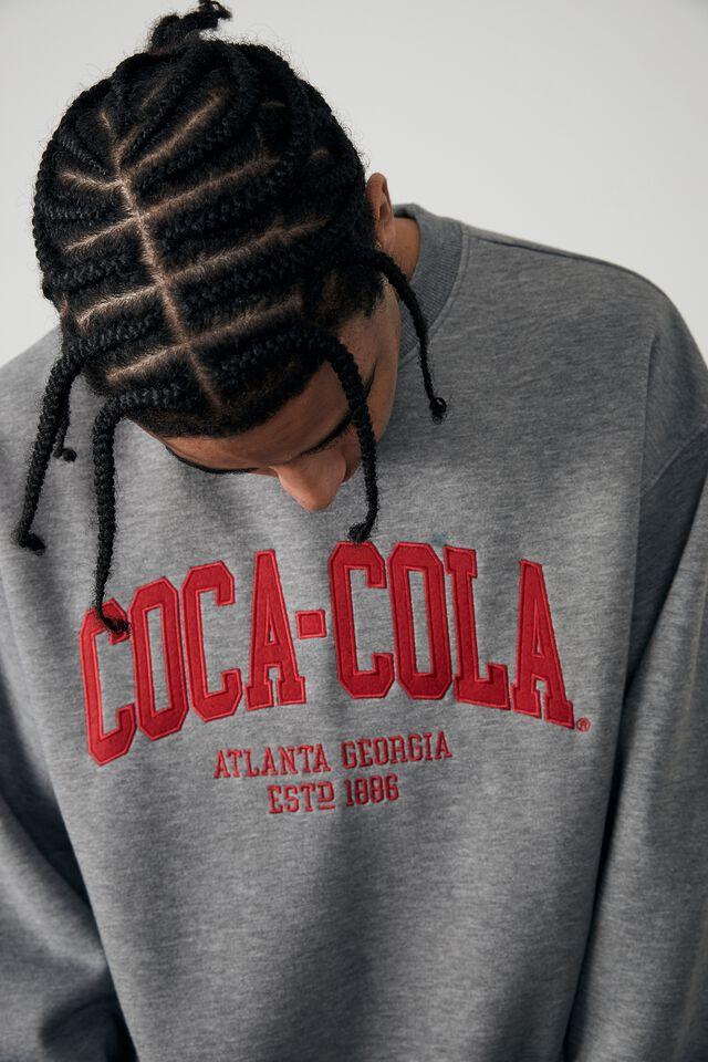 Oversized Pop Culture Crew, LCN COK MID GREY MARLE/COCA COLA