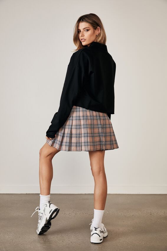 Long Sleeve Crop Polo Top, BLACK
