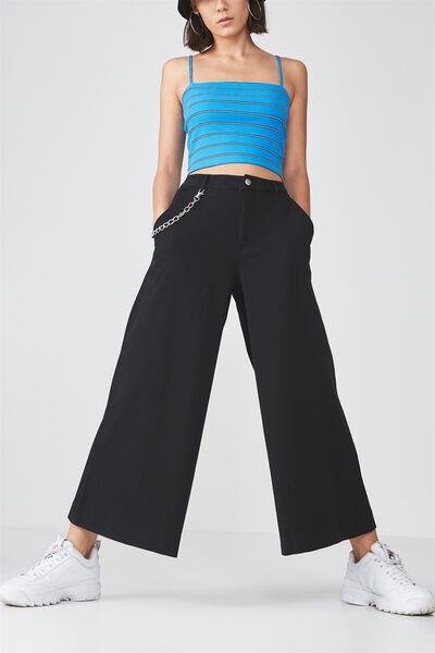 Woven Wide Leg Pant, BLACK
