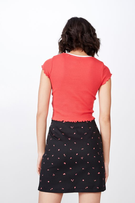 Double Split Mini Skirt, BLACK DITSY